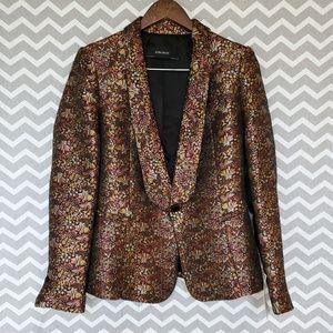 Zara Basic Blazer | Metallic Floral | Size M | NWT